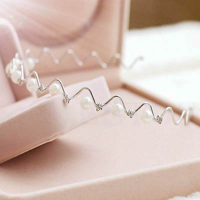 Fashion Pretty Rhinestone and Imitation Pearl Wave Hairpin Hair Band Headband