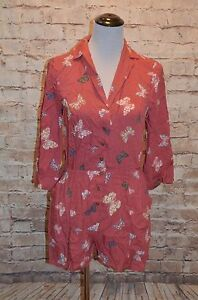 6e4feae4362e Modcloth So Field with Joy Butterfly Romper NWOT L muted red MC ...