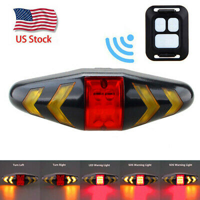 Bicycle Bike Rear LED Tail Turn Signal Light With Remote Control Rechargeable US