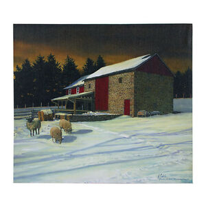 Image Is Loading New Country Primitive Winter Farm RED STONE BARN