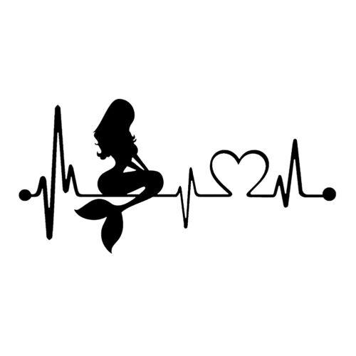 Waterproof Removable Mermaid Heartbeat Lifeline Art Car Sticker Decal Mirable