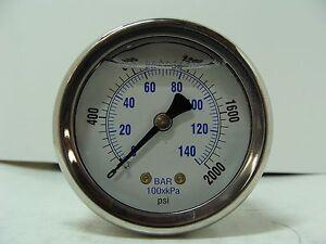 "202L-208G 2/"" Glycerin Filled Gauge Stainless Steel 1//8/"" NPT CBM 0 to 200 psi"