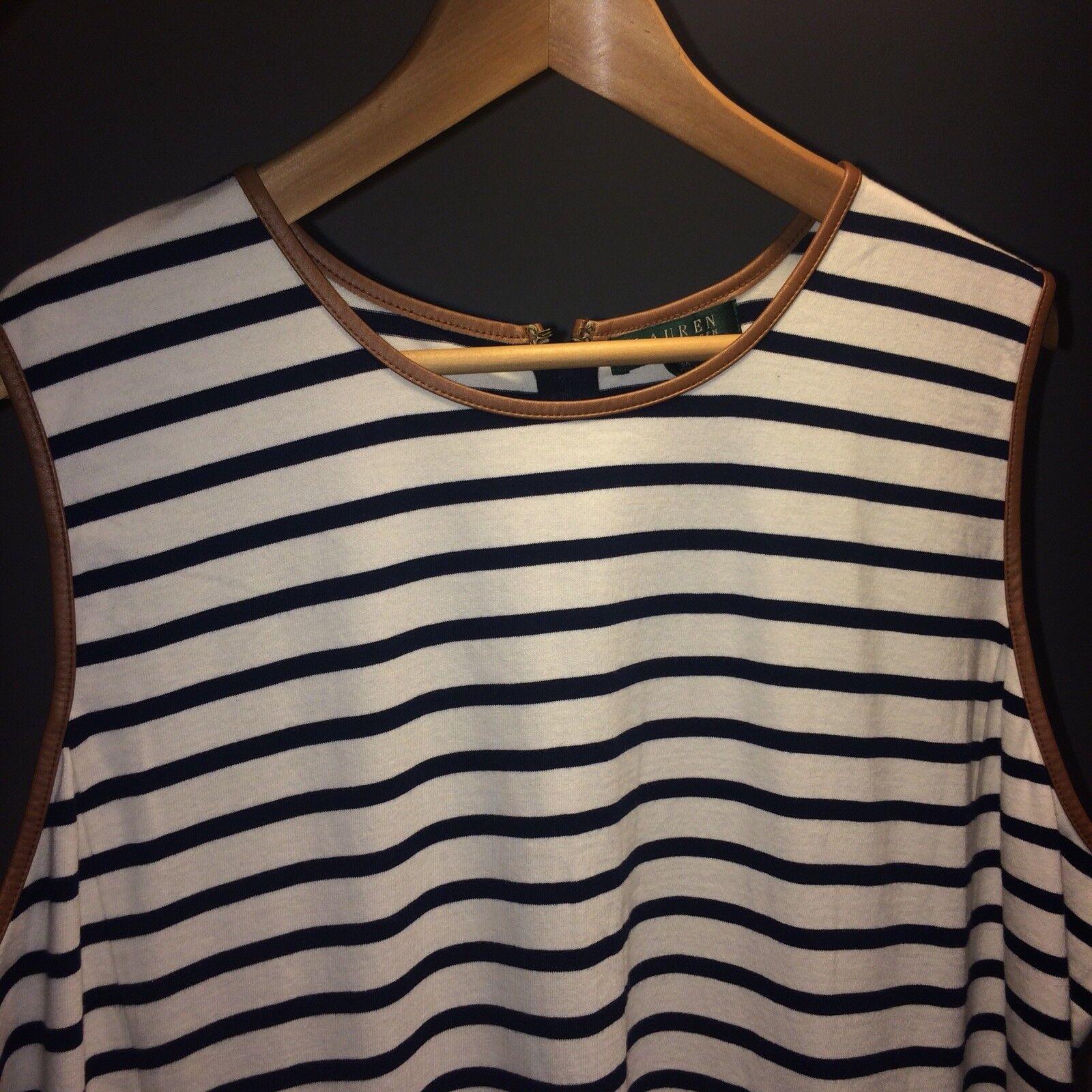 Lauren by by by Ralph Lauren Sleeveless Slimming Plus Stripe Dress Leather Details 3XL 6979d4