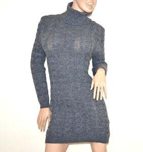27a25143bbbd La imagen se está cargando VESTIDO-gris-mujer-jersey-sueter-manga-larga- cuello-