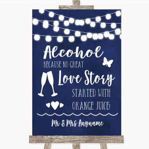 Navy Blue Watercolour Lights Alcohol Bar Love Story Personalised Wedding Sign