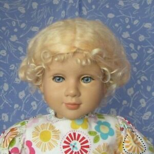 KAIS-EMILY-Pale-Blond-Full-Cap-Doll-Wig-Size-15-16-100-MOHAIR-Updo