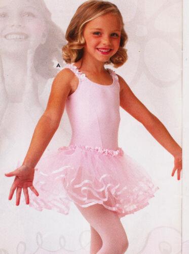 NWT Ballet Dance Leotard w// Attached Three Tier Tulle Tutu Light Pink Girls Size
