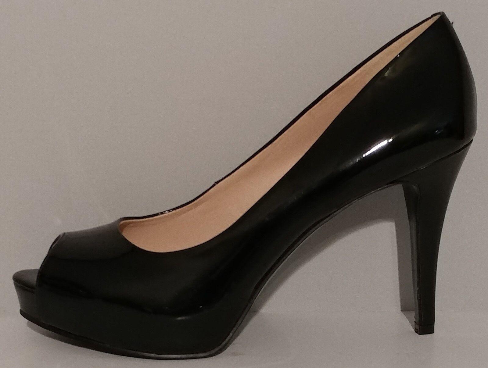 Nuevo    Nine West Negro Patente Peep Toe Toe Toe Zapatos de tacón 9.5M nos 39.5M bombas 4  EUR  deportes calientes