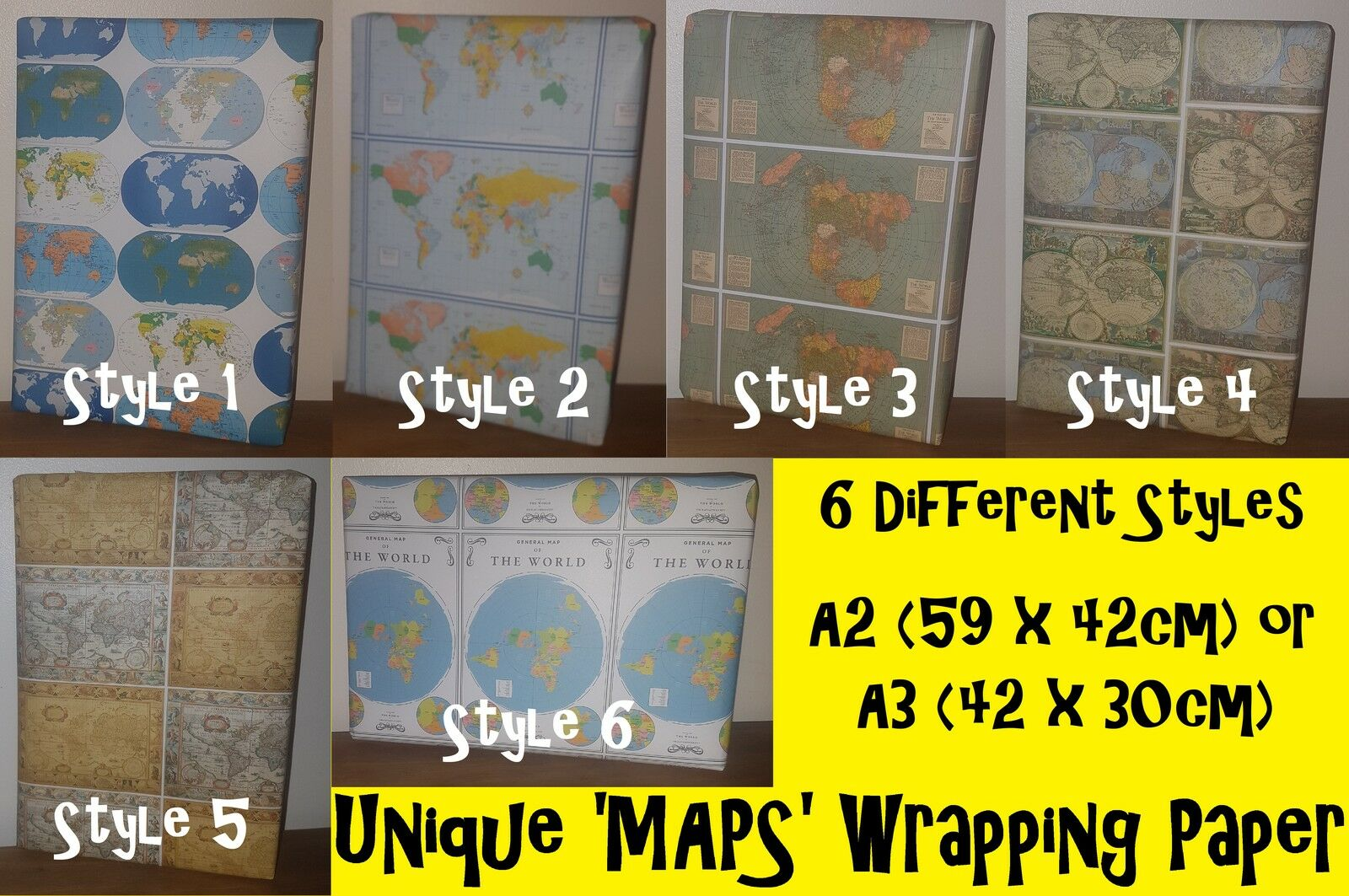 New MAPS Birthday & Christmas Wrapping Paper, 7 Styles, earth flat world America
