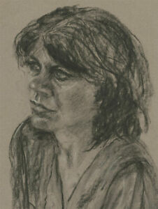 Mid-20th-Century-Charcoal-Drawing-Portait-of-a-Woman