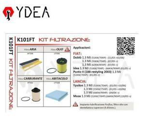 Kit de Filtros Fiat Doblò Idea Punto Lancia Ypsilon Musa Purflux - Ydea K101FT