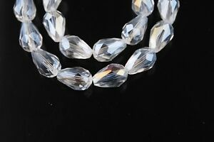 10pcs-15x10mm-Teardrop-Faceted-Crystal-Glass-Loose-Spacer-Beads-Finding-Clear-AB