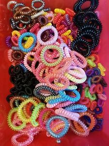 10 pcs. Colorful Gel Stretch Plastic Spiral Phone Cord Hair Ties ... 346e9a85bb9