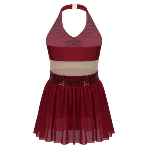 Girls Halter Lyrical Costume Contemporary Dance Dress for Ballet Ballroom Skate