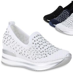 Damen Plateau Sneaker Keilabsatz Slipper Halbschuhe Slip On Turnschuhe