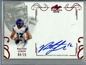 PAXTON-LYNCH-2016-Leaf-Trinity-RED-Inscription-25-Memphis-Broncos-RC