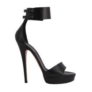53051 auth CASADEI schwarz Leder Leder Leder Ankle Strap Platform Sandales Schuhes ... 7cd621