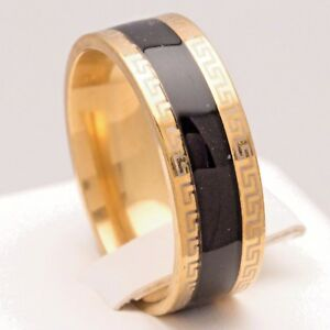 8mm-Stainless-Steel-Mens-amp-Womens-Black-amp-Gold-Plated-Ring-Unisex-Wedding-Band