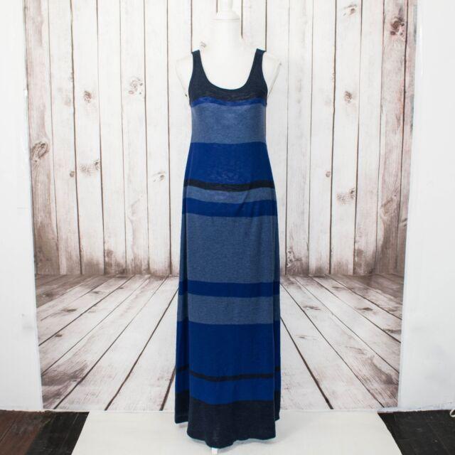 0cfa92c11de4 Vince Women s Knit Tank Dress Maxi Dress Blue Striped Cotton Size Medium