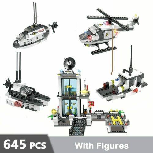 818pcs City Police Station SWAT Car Building Blocks Compatible Legoinglys City