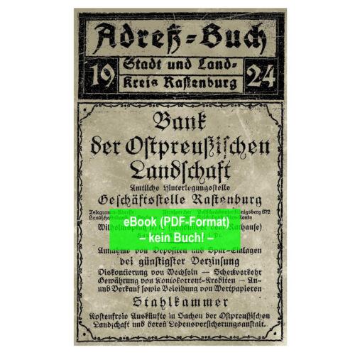 1924 eBook: Adressbuch Rastenburg AB276 Prov Ostpreußen Stadt u. Ldkrs.