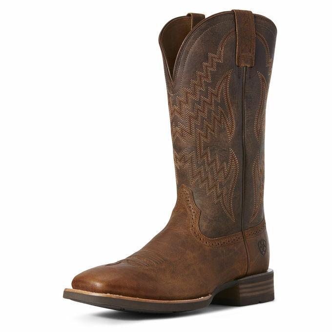 Men's Arait Wide Sq Toe Western Boot Tycoon Sorrel Crunch 10027161 NIB