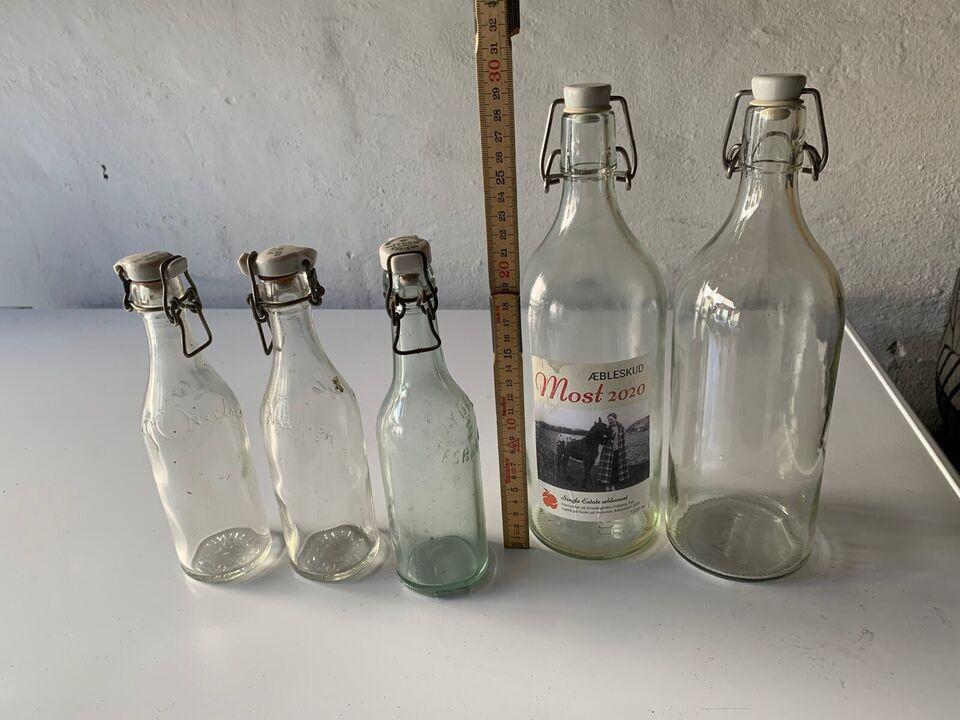 Andet, Patentflaske, 3 små retro og 2 store et liters