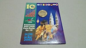 coin card nordic gold RM1 10th Men's Hockey World Cup  2002 unc bu