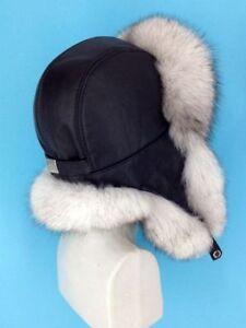 Saga Blue Fox Fur Hat Leather Top Natural White Fox 753923289099  1368b88e9a0