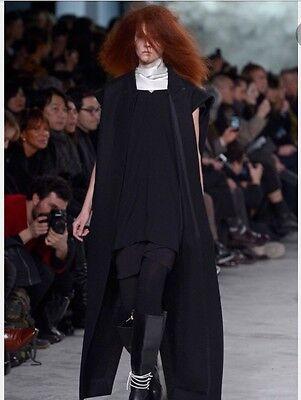 Beautiful Rick Owens Long Black Leather Kimono Sleeve Jacket - SZ 44