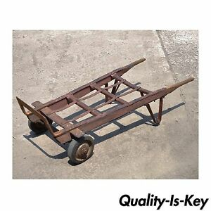 Details About Antique Industrial Steampunk Distressed Iron U0026 Wood Hand  Truck Cart Coffee Table