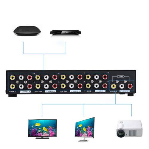AV Schalter 8 In 1 Out Audio Video Selector Metall Cinch Switcher Für TV