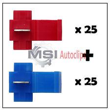 25 RED + 25 BLUE SCOTCH LOCK SNAP LOCK SPLICE CABLE CONNECTORS ELECTRICAL CRIMP