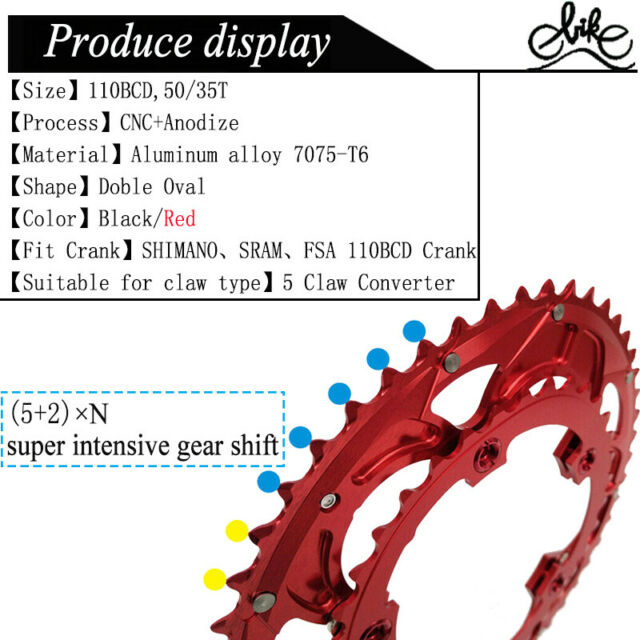 35T 50T Bicycle Chain Ring BCD110 Chain Wheel Bike Crank set 9//10//11 Speed