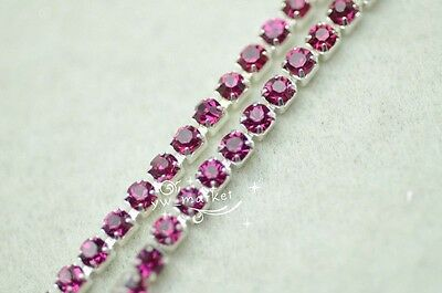 1 Meter ss12 colour rhinestone close trim chain silver/golden