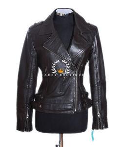 Brown pecora Ladies di Giacca in Biker Fashion pelle Style vera Amelia dFvqwd