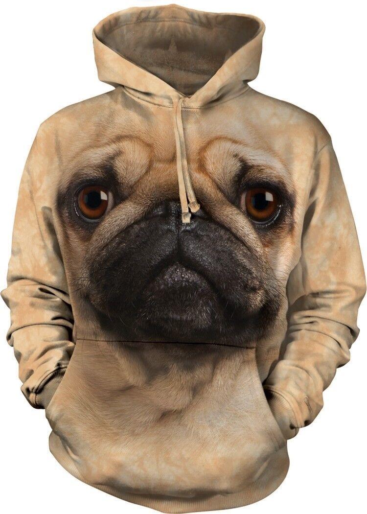 The Mountain Unisex Adult Pug Face Pet Dog Animal Hoodie