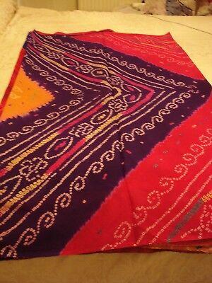 Abile Donna/ragazza Puro Jaipur Crepe Bandhini Saree-mostra Il Titolo Originale Con Metodi Tradizionali