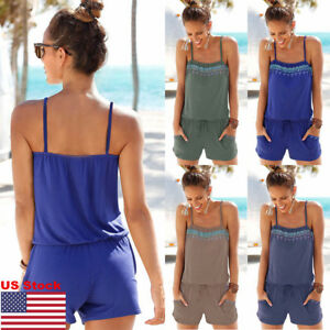Womens-Holiday-Casual-Mini-Playsuit-Jumpsuit-Summer-Beach-Crop-Top-Shorts