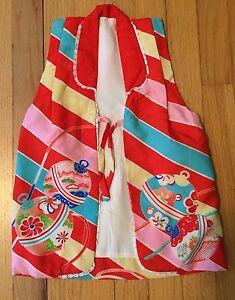 Vintage Hand Stitched Child's Silk Japanese Kimono Vest Red Striped & Floral