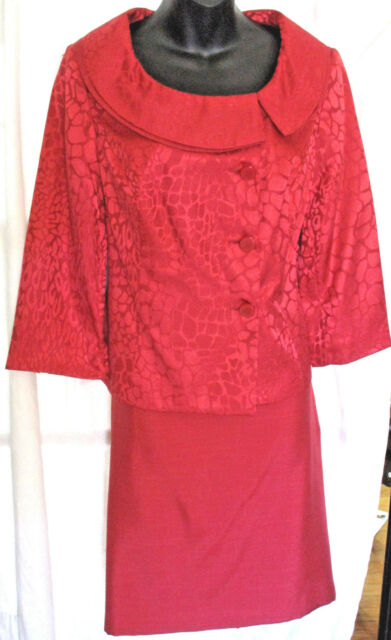 ISABELLA SUITS Womens Red Skirt Suit 3/4 Sleeve Size 8