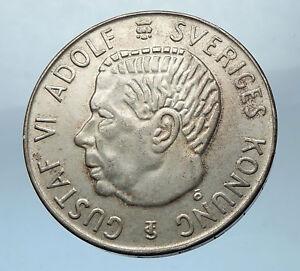 1955-SWEDEN-King-GUSTAV-VI-ADOLF-5-Kronor-LARGE-Silver-SWEDISH-Coin-i68268
