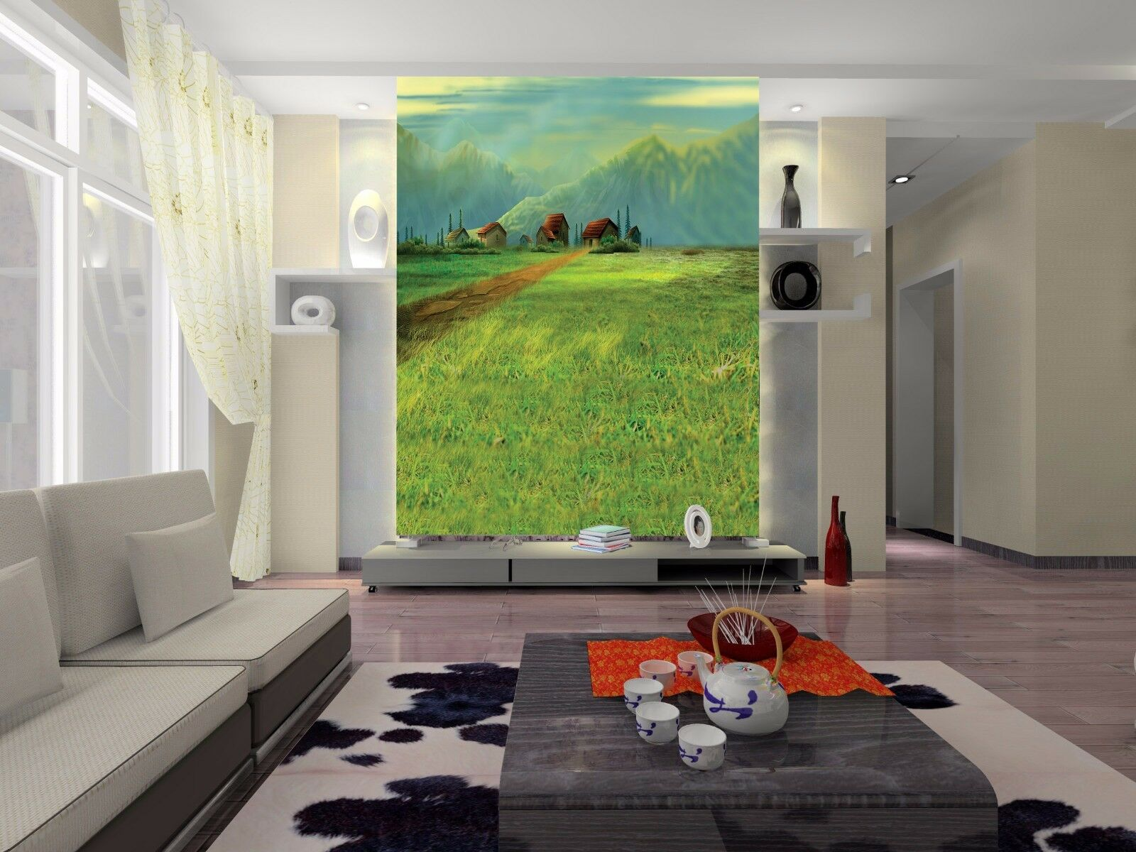 3D Größes Felder Haus 9 Tapete Wandgemälde Tapete Tapeten Tapeten Tapeten Bild Familie DE Summer 737e6a