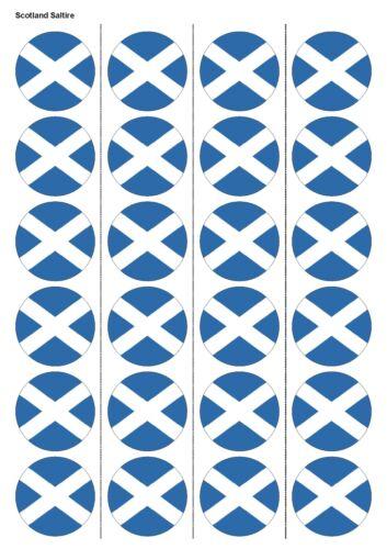 24x prédécoupées Écosse Drapeau Gaufrette Comestibles Papier cupcake gâteau Toppers 1224
