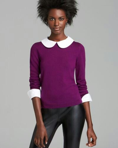 di M Alice lana Viola Olivia Bianco in Taglia Porla Collar Cuff maglia Top Sweater O8xOrwCq