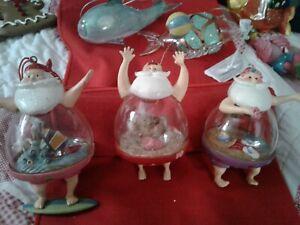 Santa Tropical Globe Glass Christmas Ornaments ~ Unusual ~ EUC