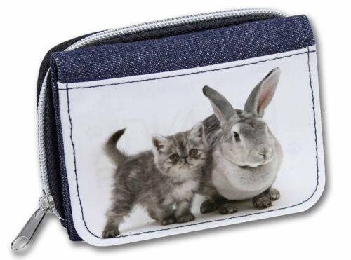 Silver Grey Cat and Rabbit Girls//Ladies Denim Purse Wallet Christmas Gi AC-62JW