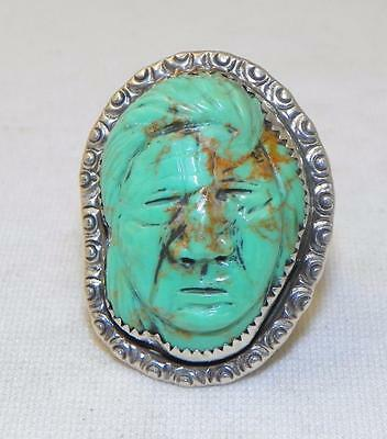 HAND CARVED~TURQUOISE~STERLING SILVER~MEDICINE MAN~RING~BY FRANCISCO GOMEZ