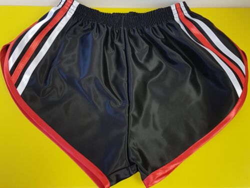Retro Nylon Satin Sprinter Shorts S-4XL Black White-Red