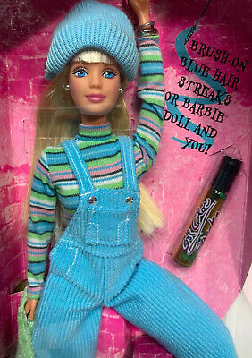 NEW Cool Blue Barbie Doll Vintage 1997 Brush On Hair Color 23749